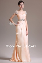 Best Capped Prom Dresses 2014 Brand Design Sweetheart Chiffon Sheath Column Floor Length Beads Ruffle yk-8A32