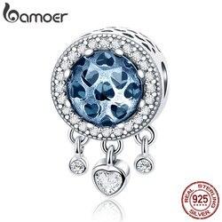 BAMOER 925 пробы 100% Серебро мотаться сердце Radiant CZ Кристалл Бусины fit для женщин браслеты с подвесками ожерелья для мужчин DIY ювелирных SCC724