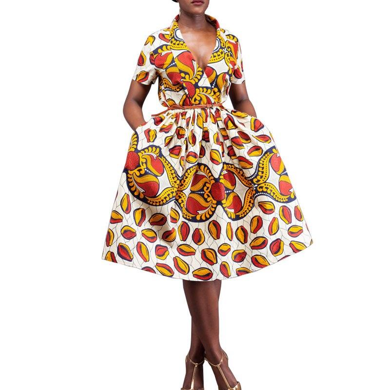 2017 summer Clothing dashiki batik print African dresses for women short sleeves pure cotton girl Overknee dress plus size S-4XL