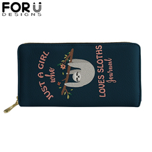 Brand PU Leather Wallets for Woman Lady Zipper Long Purses with Lovely Sloth Girls High Quality Money Coin Bag Card Holders