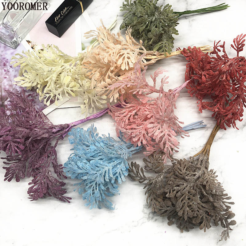 YOOROMER  6pcs Artificial Grass Simulation Ferns Plant Flowers for DIY Scrapbooking Home Wedding Christmas Decoration