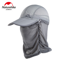 Naturehike Outdoor Folding Cap With Removable Mosquito Mesh Summer Camping Fishing Hiking Sunscreen UV Protection Hat