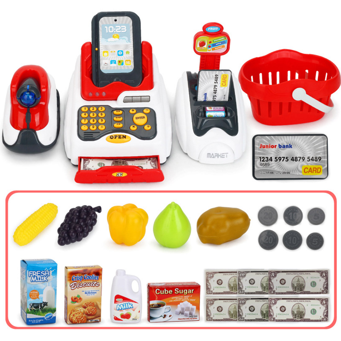 Rowsfire Lovely Children Pretend Play Toys Classic Supermarket Cash Register Toy for Children Cute Pattern Design Lahore