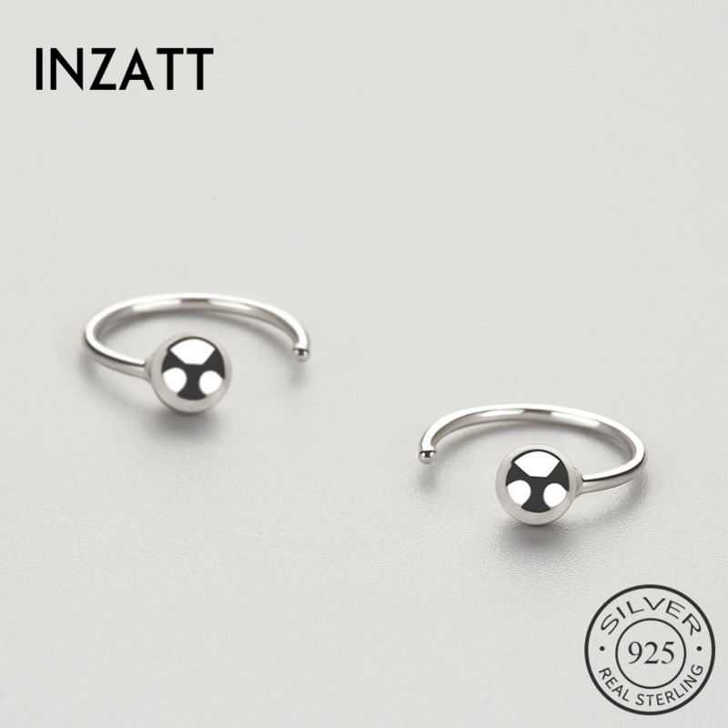 INZATT OL Minimalist Geometric Light Bead Hoop Earrings For Women Anniversary Real 925 Sterling Silver Fine Jewelry Fashion Gift