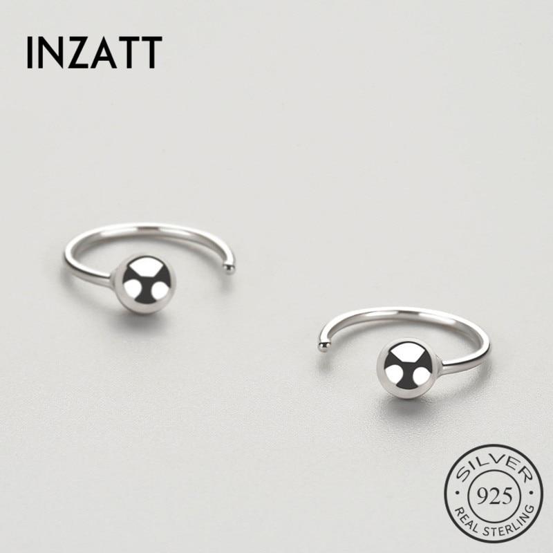 INZATT OL Minimalist Geometric Light Bead Hoop Earrings For Women Anniversary Real 925 Sterling Silver Fine Jewelry Fashion Gift