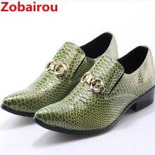 Zobairou/Мужские модельные туфли с острым носком; мужская кожаная обувь из крокодиловой кожи; официальная Свадебная обувь; зеленые лоферы с шипами; большие размеры