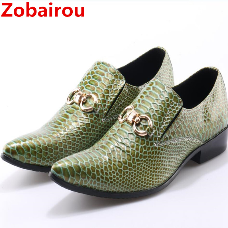 Zobairou Mens pointed toe dress shoes crocodile skin men   leather   shoes formal wedding shoes green spiked loafers plus size