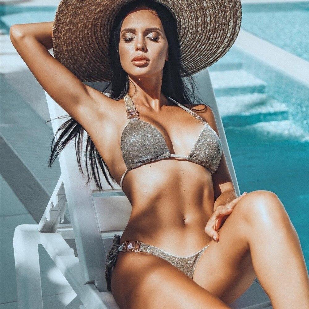 swimming suit for women brazilian bikini set sexy swimsuit 2 piece swim suit women swimwear push up victoria secret glitter