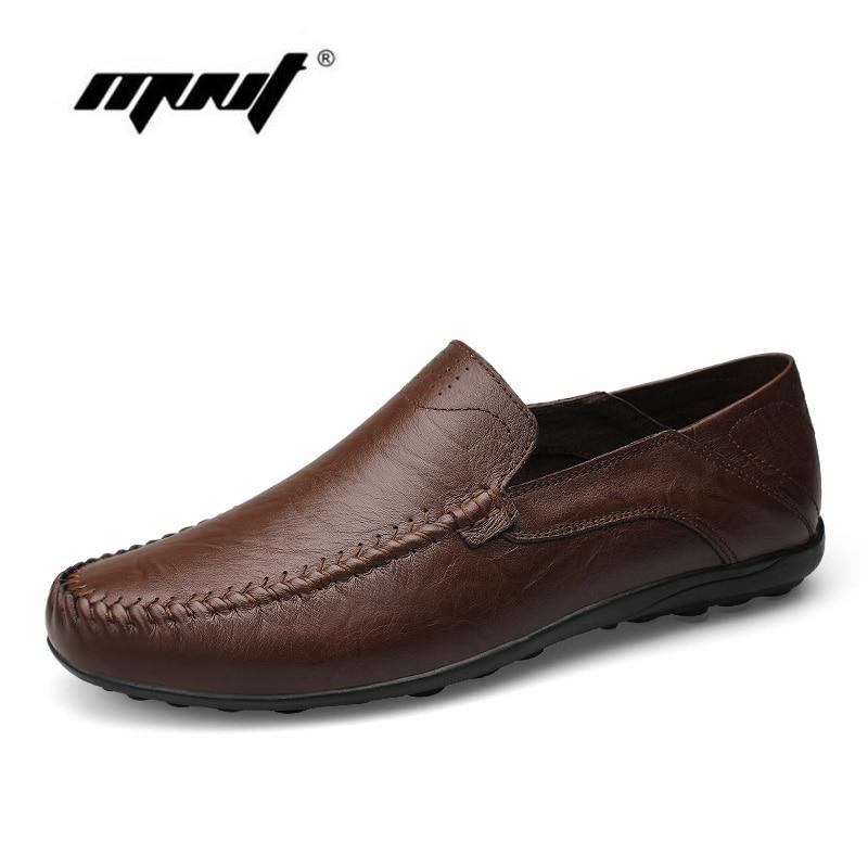 Hollow Out Breathable Cowhide Mænd Flats Sko Fuld Læder Plus Størrelse Fashion Shoes Mænd Loafers Moccasins Casual Shoes Mænd