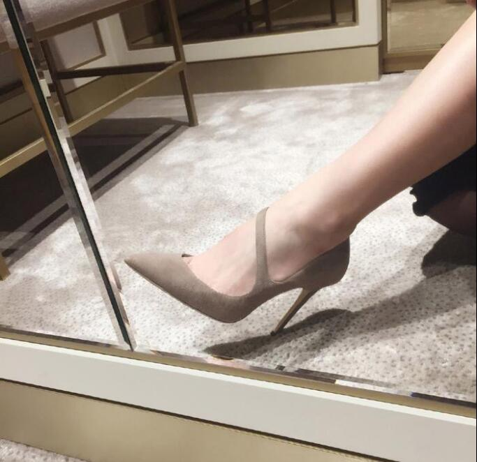 2017 fashion black dress shoes sexy pointed toe pumps shallow thin heels high heels shoes women chaussure femme talon size 42