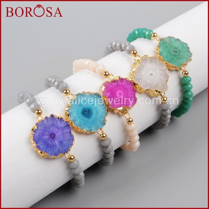 Bangles Bracelets & Bangles Capable Borosa Fashion Gold Color Mix Color Solar Quartz Slice & 6mm Mix Color Beads Bracelet G1018 Distinctive For Its Traditional Properties