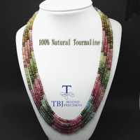 TBJ ,100% Natural fancy color tourmaline gemstone neacklace with 925 silver clasp,luxury big size necklace with box