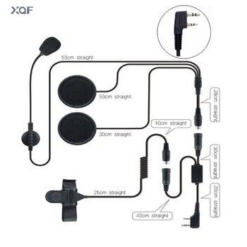 Helmet Headset 2 Pin PTT Motorcycle Headphone For Walkie Talkie Kenwood Baofeng Puxing Ham Radio Two Way Radio
