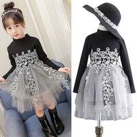 Spring Autumn Winter Velvet Sweater Patch 4 Layer Veils Mesh 3d Flower Embroidery Girls Princess Dress