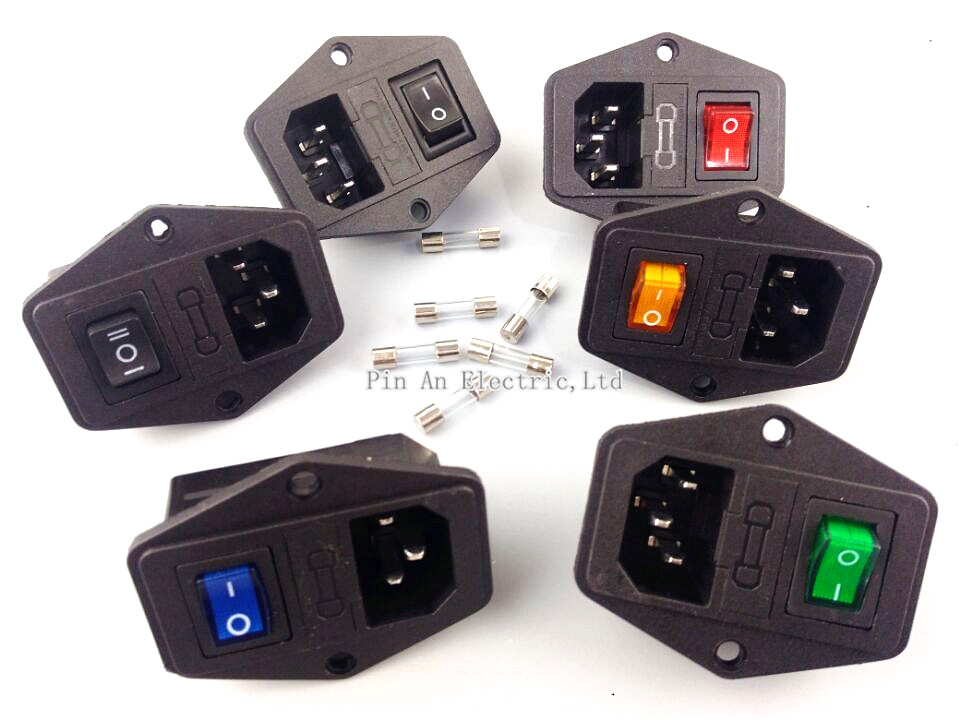 1pcs  with 10A fuse ! power socket with Rocker Switch ac socket 3 Terminal Power Socket with Fuse Holder Connector 3 pin diy ac power socket with fuse and switch black 5 pcs