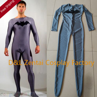 Free Shipping DHL Dark Gray Batman Spandex Lycra Suit Cheap Halloween Party Super Hero Catsuit SC11301