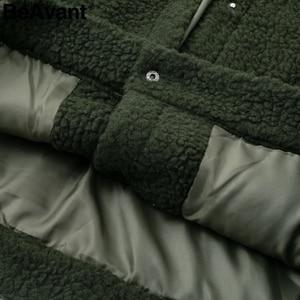 Image 5 - Женская Шуба из овечьей шерсти BeAvant, теплая Модная шуба из искусственного меха розового цвета с карманами, короткая шуба, верхняя одежда, зима 2019