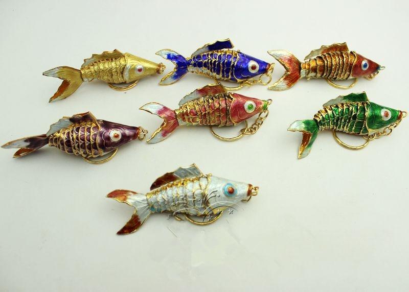 Кантри 7,5 качели кои рыбы брелки китайская перегородчатая эмаль карп аксессуары ремесла Эмаль Мода животных брелок этнический подарок