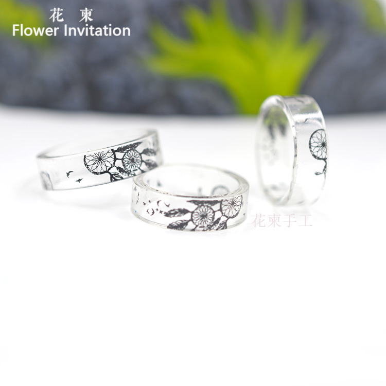 Flower Invitation Hot Sale Inside Resin Ring For Women And Men Jewelry  High Quality Dreamcatcher Handmade Ring HJ24
