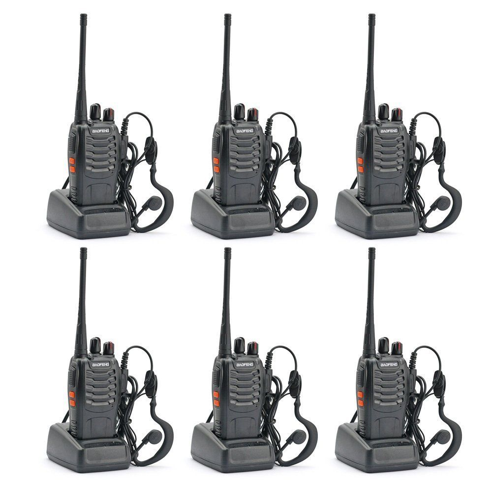 6x Baofeng BF-888S 400-470MHz 5W CTCSS Dual-Band Two-way Ham Radio Walkie Talkie Bf888s 1500mAh Li-ion Battery 50 CTCSS/105 CDCS
