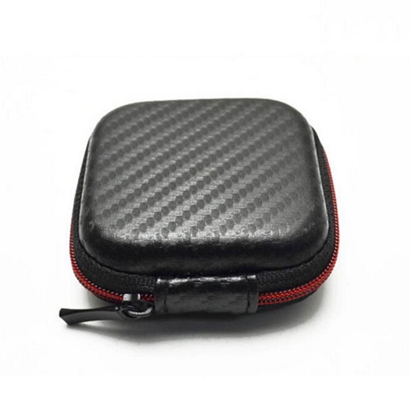 Zipper Headphones Box Earphone Earbuds Hard Case Trinketry Storage Carrying Pouch Bag SD Card Hold PU Box 7.5*3cm