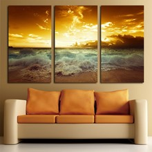 3 Panels Sun Beach HD Canvas Print Painting Artwork Modern Home Wall Decor painting Art Picture Paint on Prints
