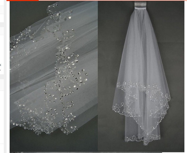 2016 Charming Veu De Noiva White Ivory Bridal Veil Two-Layer Tullle Wedding Accessories Wedding Veils With Crystal Voile Mariage