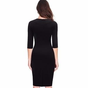 Image 2 - Nice forever Women Retro Contrast Patchwork Wear to Work Business vestidos Office Bodycon Zipper Sheath Female Dress B409