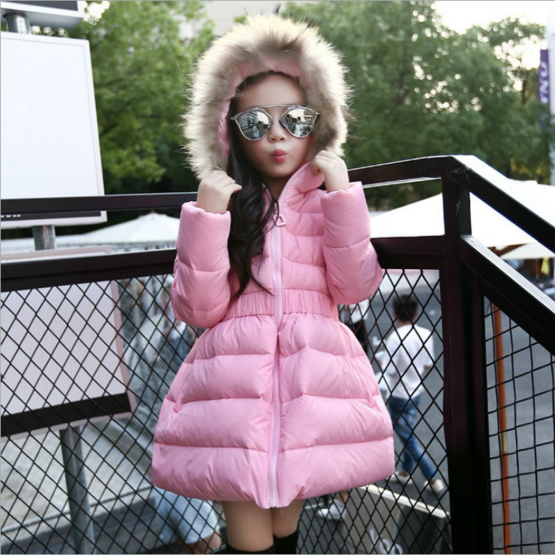The Girls Winter Down Coats Long Hooded With Fur Collar Jackets Childrens Clothing Slim Outerwear 90% While Duck Down & ParkasThe Girls Winter Down Coats Long Hooded With Fur Collar Jackets Childrens Clothing Slim Outerwear 90% While Duck Down & Parkas