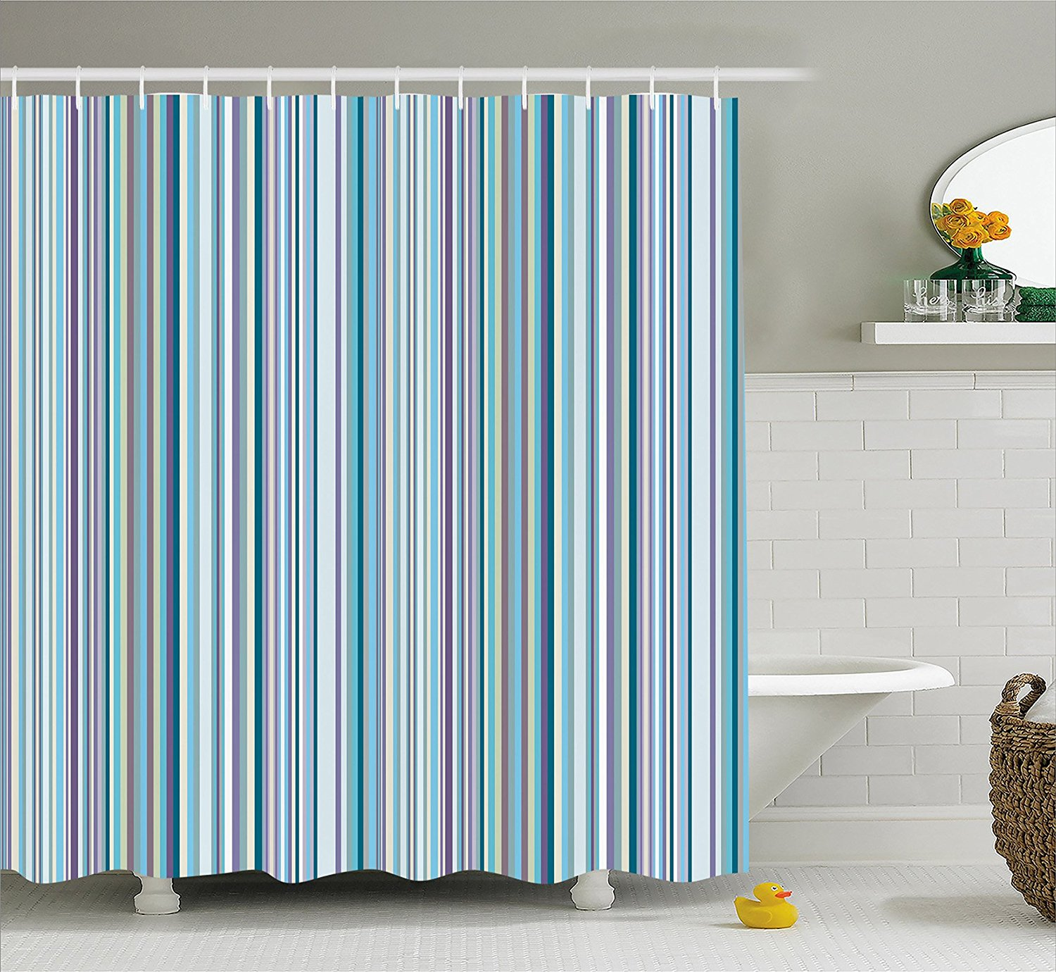 Us 14 17 38 Off Striped Shower Curtain Set Blue Purple Teal Aqua Lavender Colored Vertical Stripes Geometric Abstract Vintage Fabric Bath Decor In