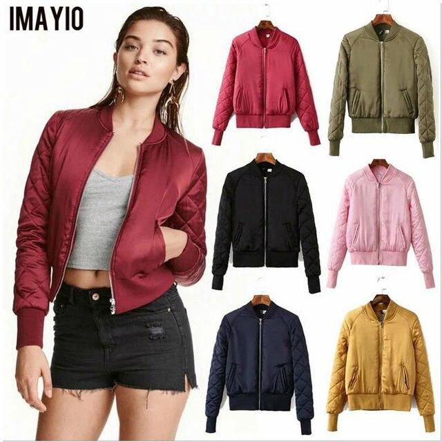 a51b070c84b US $35.98 |Imayio Lightweight Bomber jacket women quality coat winter  jacket outerwear chaquetas mujer plus size Baseball jacket cotton-in Basic  ...