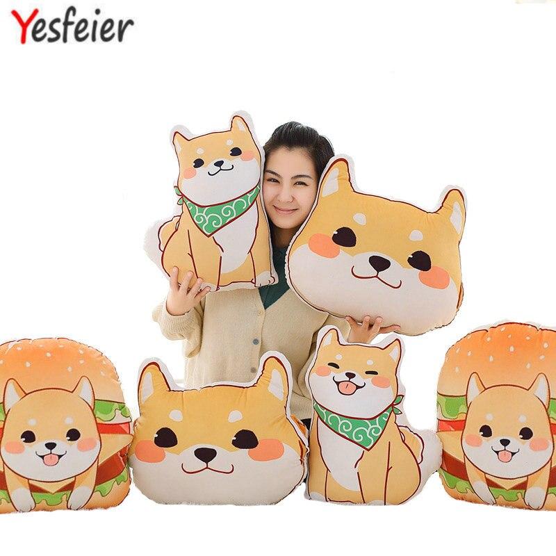 Wholesale Cute Yellow Dog Plush Toys Shiba Inu Cloth Doll Winter Hand Warm Soft Pillow Cushion