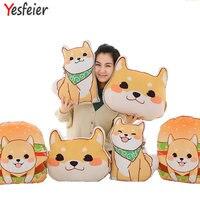 Groothandel Leuke gele Hond knuffels Shiba Inu doek pop winter hand warm soft kussen verjaardagscadeau kids baby meisje