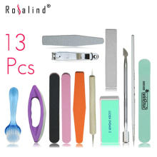 Rosalind Beauty Nail Set Kits Nails File Buffer Nail Brush Nail File Dotting Tool Clipper Manicure Set Kit