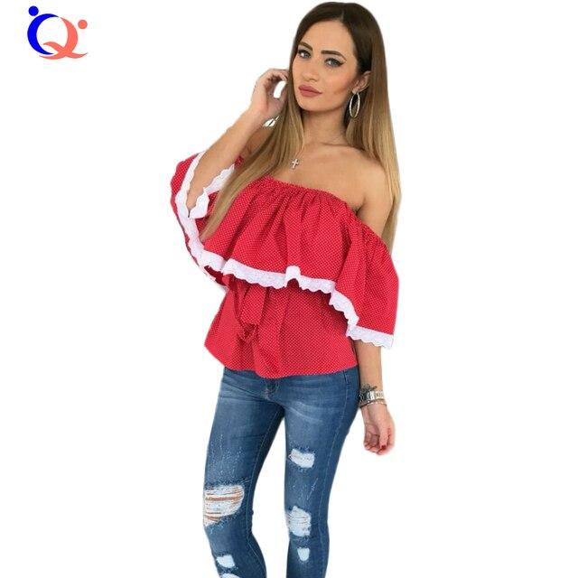 66489b76 € 12.04  Para mujer de Polca de Las Colmenas Blusas de la Raya Vertical de  Cuello Ocasional Lindo Elegante Blusa Fuera del Hombro Atractivo Del ...