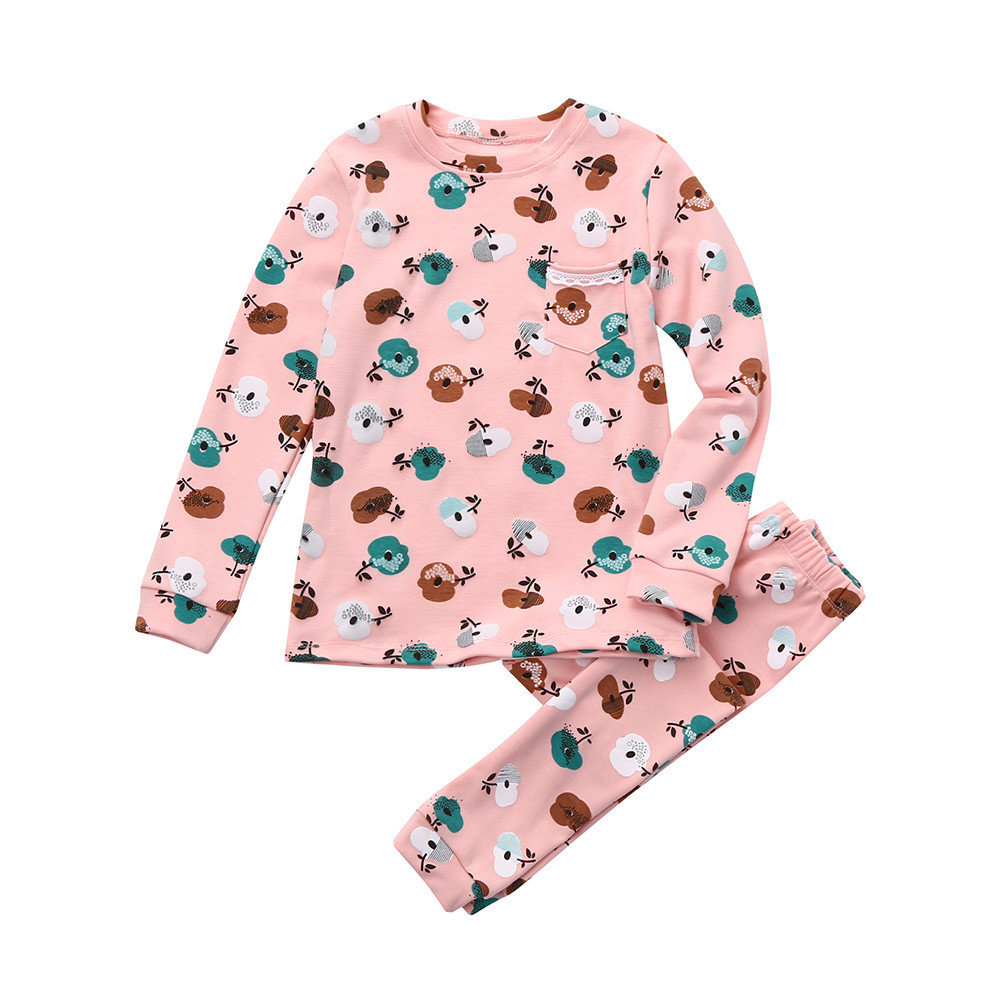 18M-7T christmas Pajama Sets childrens homewear winter Sleepwear pajamas for baby girls Floral Print Long Sleeve Tops+Pants