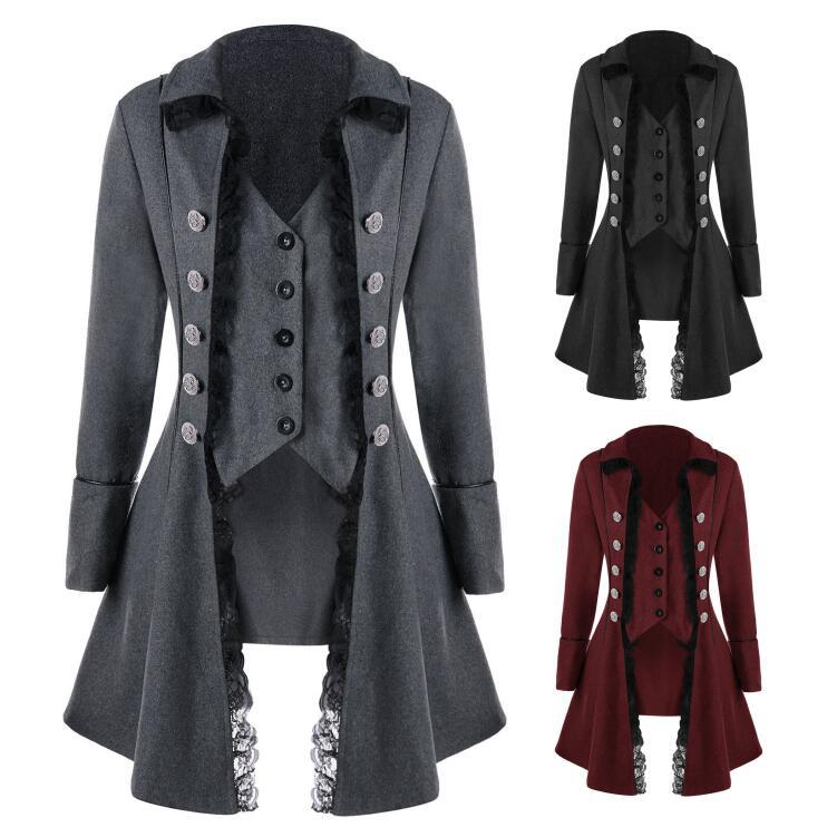 Adult Women Vintage Victorian Costume Black Red Elegant Double Breasted Lace Trench Jacket Slim Steampunk Vest Coat For Ladies