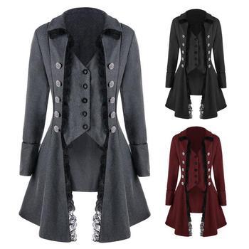 Mujeres adultas Vintage traje victoriano negro rojo elegante doble Breasted chaqueta de encaje Delgado Steampunk chaleco abrigo para damas