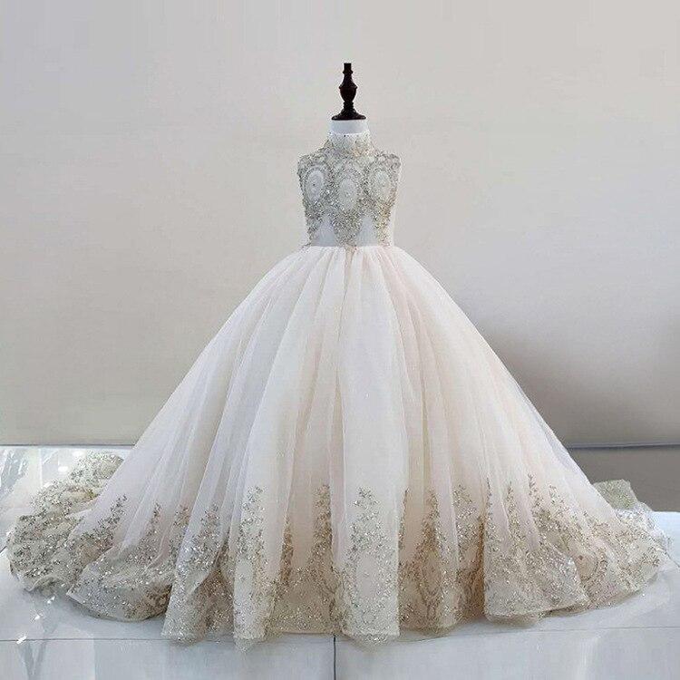 สาวงานแต่งงานอย่างเป็นทางการชุดยาวชุดเด็กหญิงเจ้าหญิงปาร์ตี้ประกวดคอเต่าชุด HW2095-ใน ชุดเดรส จาก แม่และเด็ก บน AliExpress - 11.11_สิบเอ็ด สิบเอ็ดวันคนโสด 1
