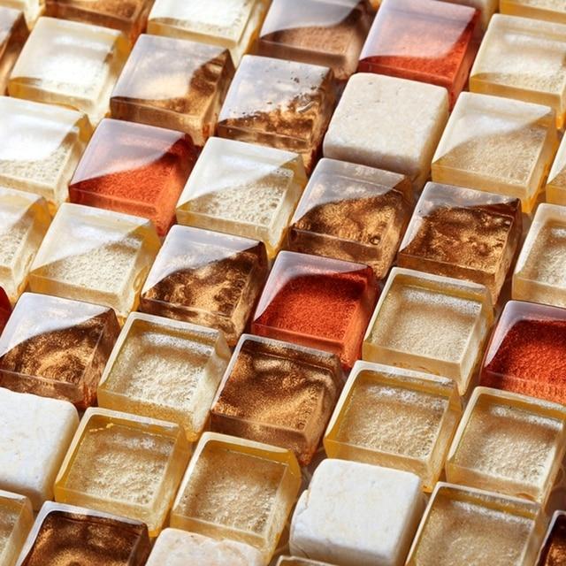 Kitchen Tiles Orange: Orange Art Mosaic Square Crystal Glass Mixed Stone Mosaic Tiles Bathroom Shower Tiles Bedroom
