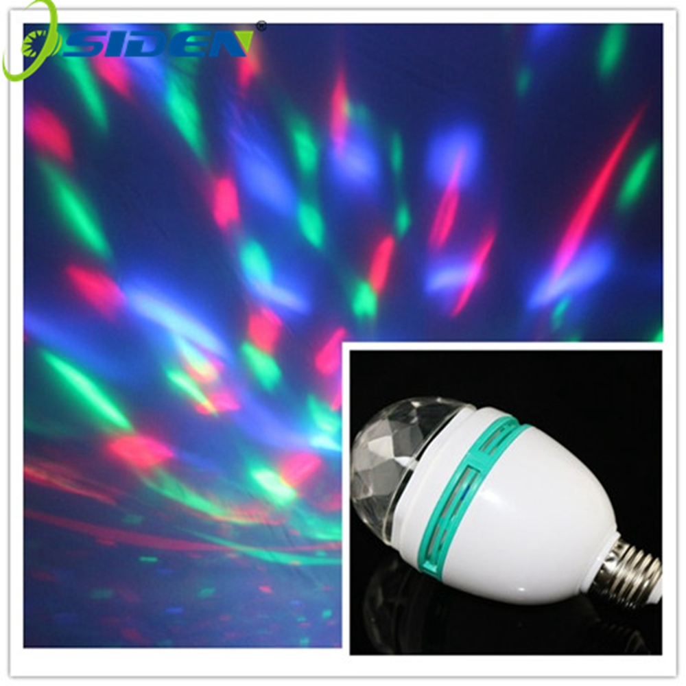 OSIDEN 3W E27 Full Color LED Crystal  Rotating Stage Light DJ Lamp Light Bulb Stage Lighting Voice Activated with E27 socket