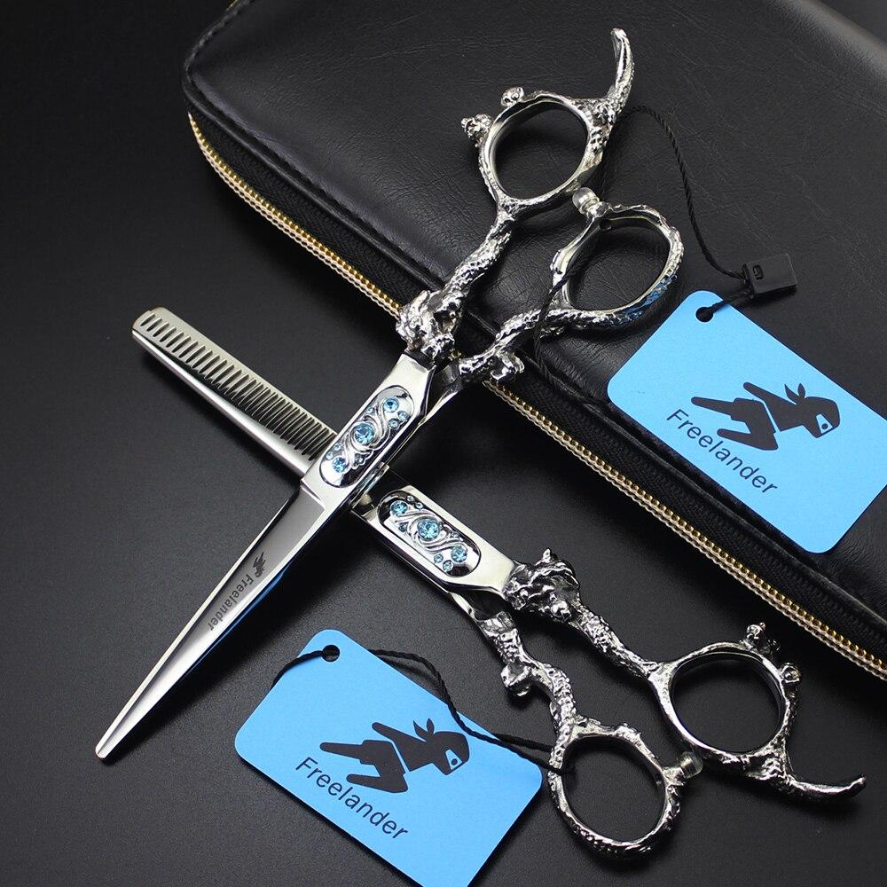 Freelander Top Grade Dragon Sapphire Hair Scissors 6 Inch Professional Barber Hairdressing Scissors Cutting Shears