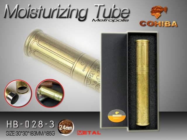 portable metal Cigar Humidor tube Case Travel with Cuban cigar moisturizing humidifier