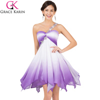 Princess Grace Karin Chiffon High Low Ombre Short Prom Dresses 2015 One Shoulder Evening Dress Formal