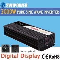 Чистый синусоидальный инвертор 3000 Вт Новый DC 12 В 24 в 48 В до 110 В 220 в автомобильный Солнечный инвертор