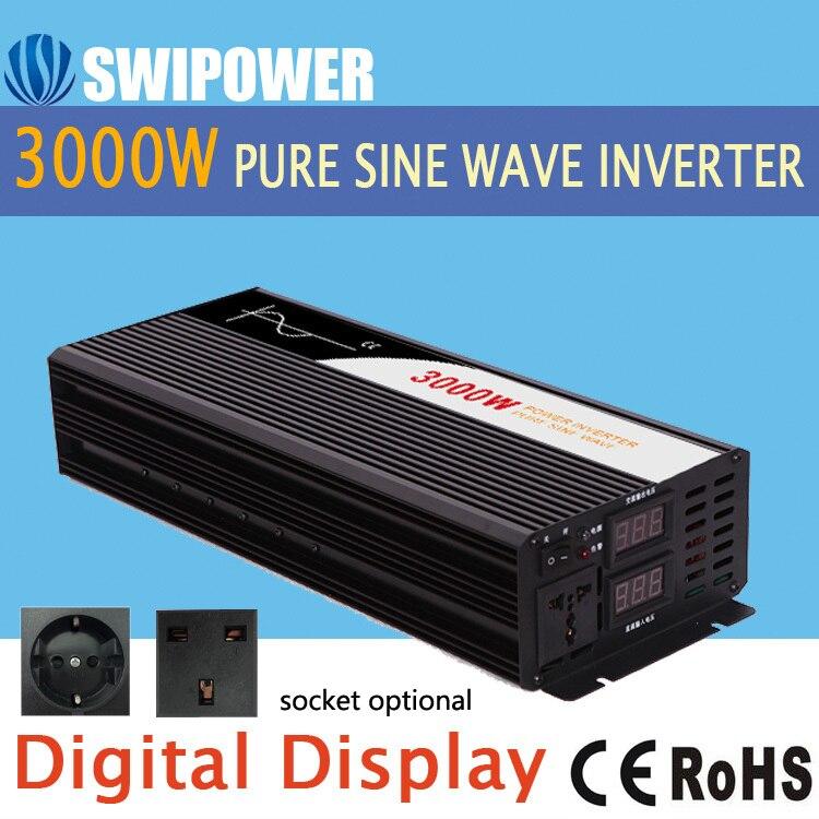 Inversor de onda senoidal pura 3000 w novo dc 12 v 24 v 48 v a 110 v 220 v inversor de energia solar do carro