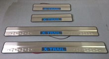 For Nissan X-TRAIL 2014 Stainless steel Blue Led Welcome pedal Scuff Plate / Door Sill Trim