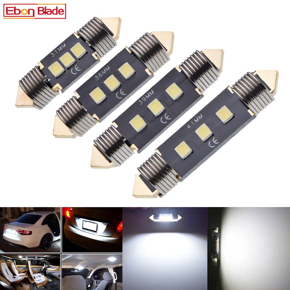 Pair Festoon 31mm 36mm 39mm 41mm LED Car Interior Light 3030 3 SMD White C5W C10W Auto Dome Map Reading Doom Bulb Lamp 12V DC image