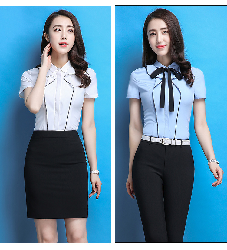 622c4beb089 Shirts For Women Patchwork Short Sleeve Blouse OL Business Slim Fit ...