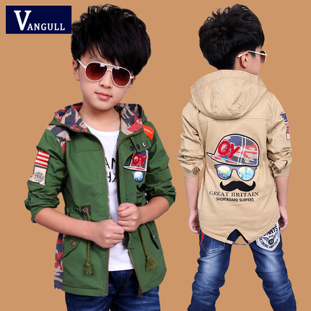 2016 autumn winter fashion coat adicolo boys 4-15 years old children cartoon beard letter printed cotton coat